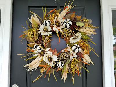 black and white striped pumpkin wreath