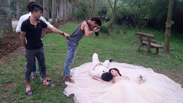 Sự thật đằng sau những tấm ảnh cưới đẹp - tư thế chụp hài VL
