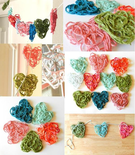 Starched Yarn Valentines Hearts