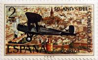 50º ANIVERSARIO DEL CORREO AEREO, DE HAVILLAND DH-9