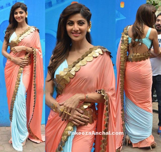 Shilpa Shetty in Pastel-Blue Saree with Gold Border