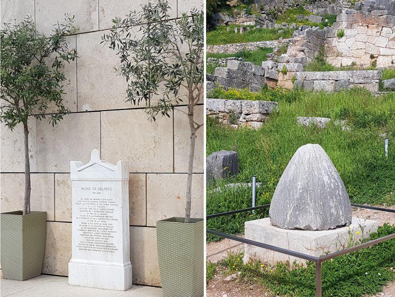 """Eingang Museum Delphi und """"Nabel der Welt"""" Griechenland"""