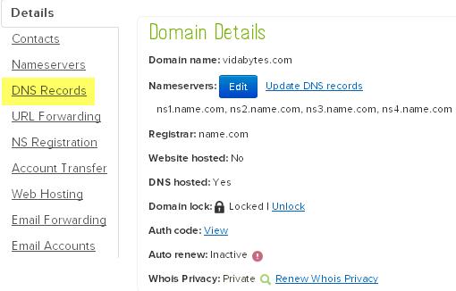 DNS Records name