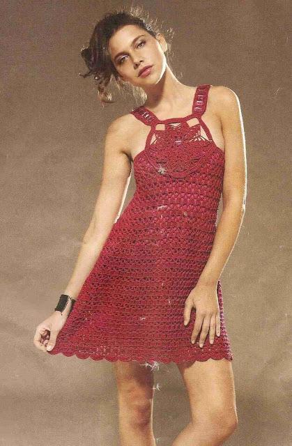 Patrón #1438: Vestido a Crochet