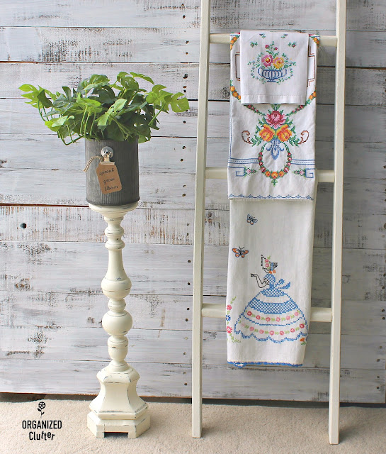 Tall Thrifted Candlestick to Fun Farmhouse Planter