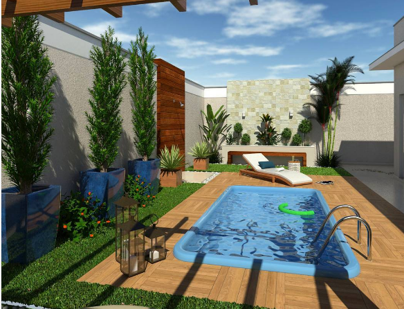101 planos de casas sue a con una piscina en su peque o patio for Patios de casas con piscina