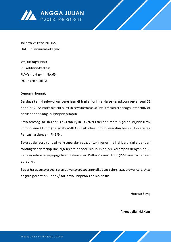 Contoh Surat Lamaran Kerja 21