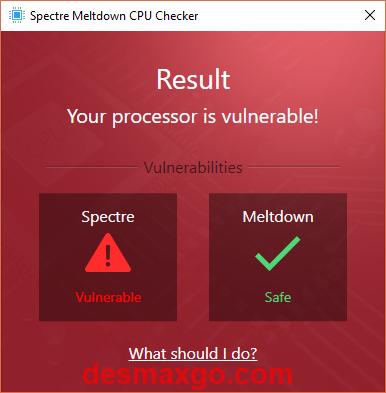 captura de análisis de Ashampoo Spectre Meltdown CPU Checker