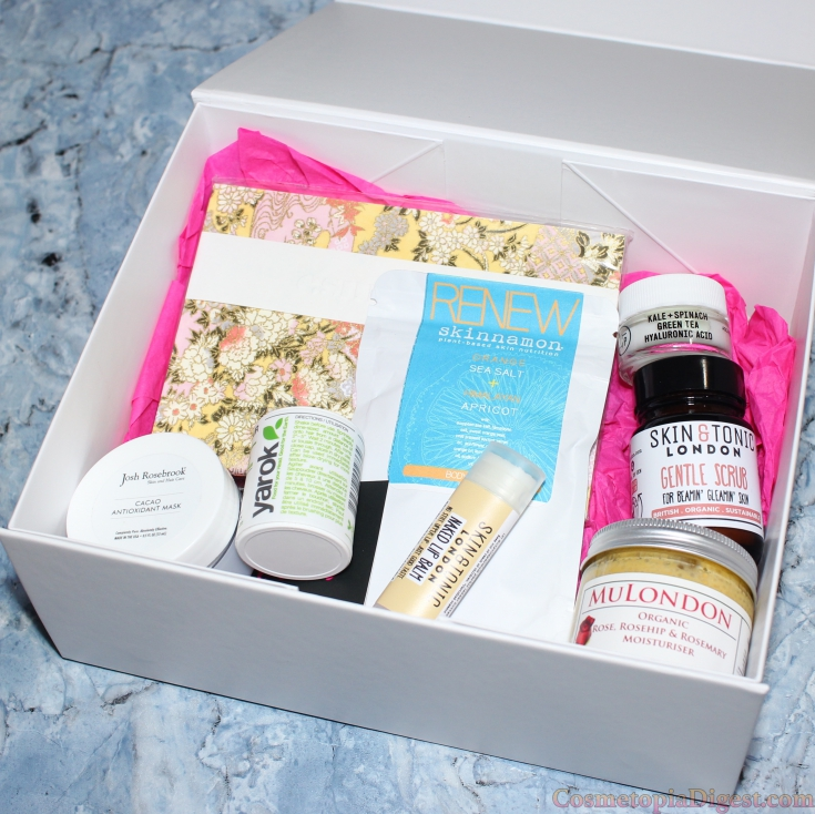 Here are the contents of the Spring/Summer 2016 Sampler Box from A Beautiful World, an eco-luxe, organic beauty box that ships worldwide.
