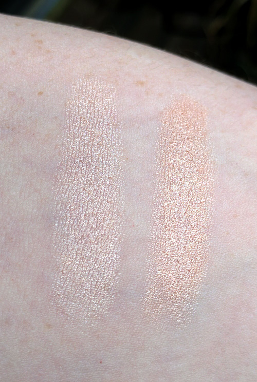 Swatches of Tréstique Highlight & Perfect Multipurpose Stick and Benefit Watt's Up