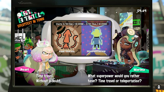 Splatoon 2 Splatfest superpower time travel vs teleportation