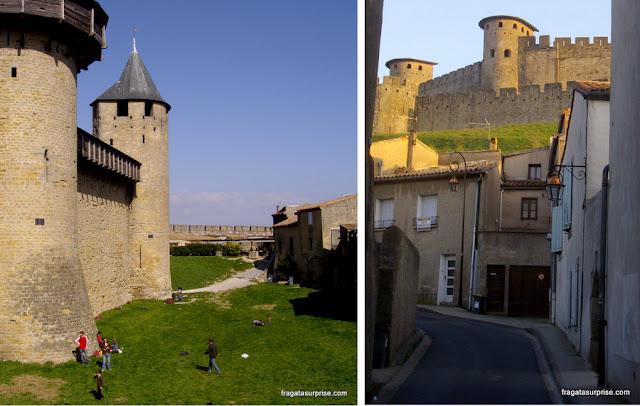 O fosso da cidadela medieval de Carcassonne e a subida até o castelo