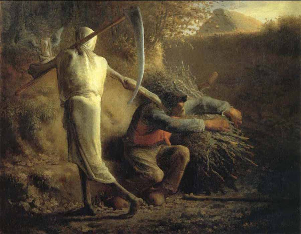 Death and the Woodcutter by Jean-Francois Millet, Macabre Art, Macabre Paintings, Horror Paintings, Freak Art, Freak Paintings, Horror Picture, Terror Pictures