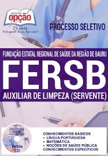 Apostila FERSB Bauru 2016 Auxiliar de Limpeza