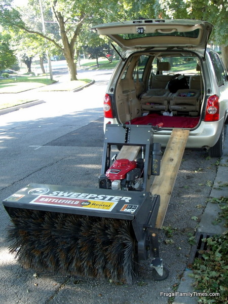 rented sweepster for driveway weeding project fit in minivan