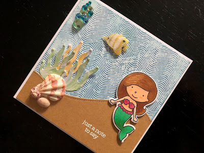 Hand Made Notecard with Mermaid and Shells