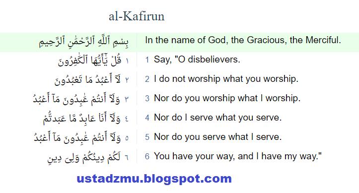 Surat Al Kafirun Ayat 1 6 Ustadzmu