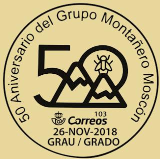 Matasellos del 50 aniversario del Grupo de Montaña Moscón de Grado
