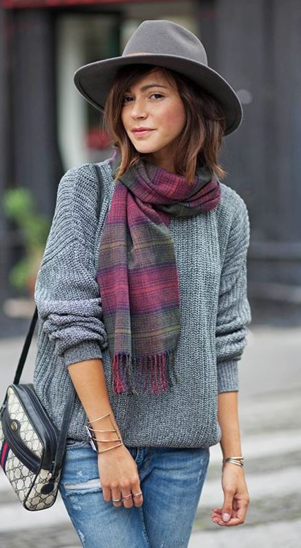 how to style a scarf : hat + grey sweater + bag + jeans