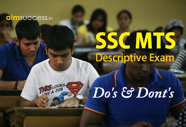 SSC MTS Descriptive Exam  Do's & Dont's