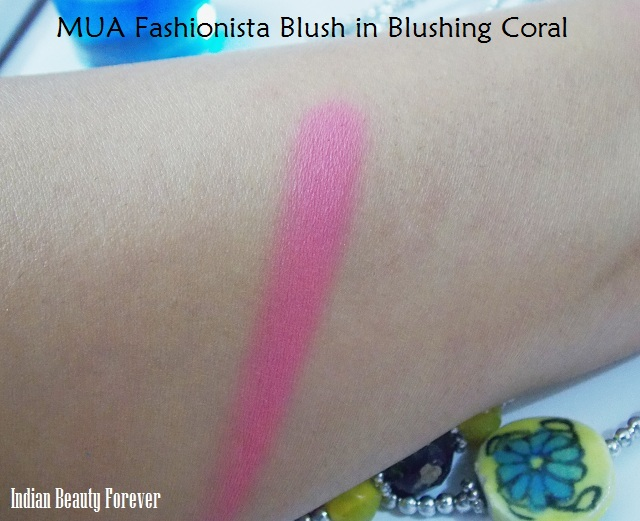 MUA Fashionista Blush in Blushing Coral Review swatches