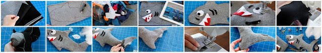 DIY dog toy shaped like a shark with stuffing and squeakers, step-by-step how to make