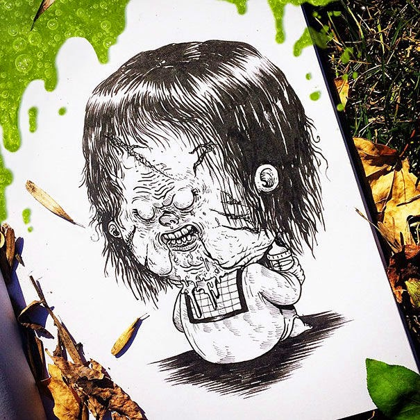 06-Pazuzu-Exorcist-Alex-Solis-Baby-Terrors-Drawings-Horror-Movie-Villains-www-designstack-co
