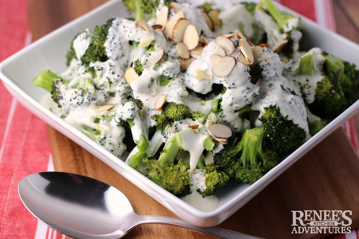 Roasted Broccoli with Garlic Cheese Sauce