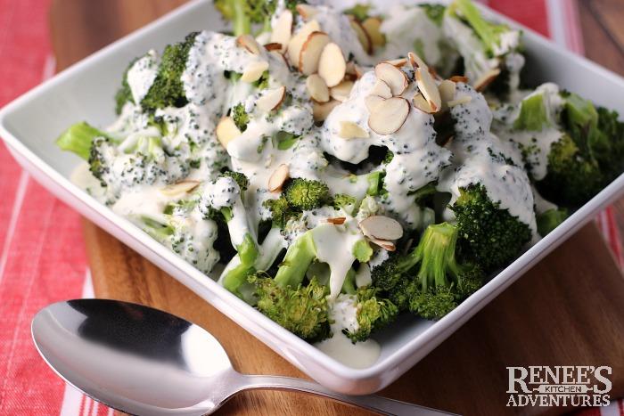 Roasted Broccoli with Garlic Cheese Sauce