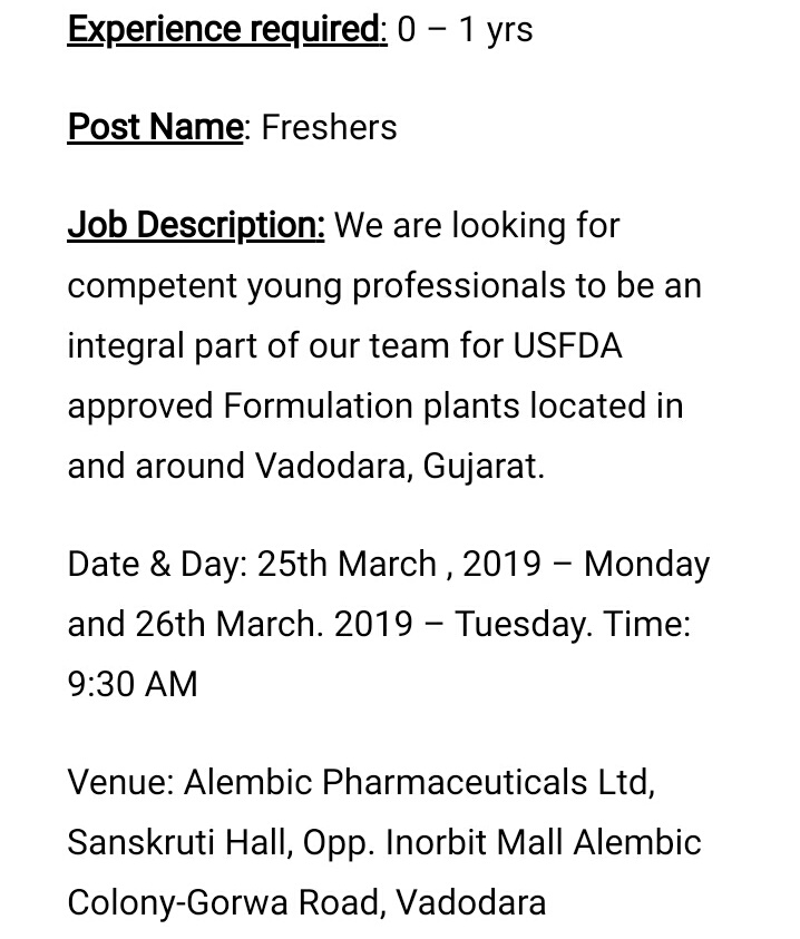 Alembic Pharmaceuticals Limited Walk -In Interview For