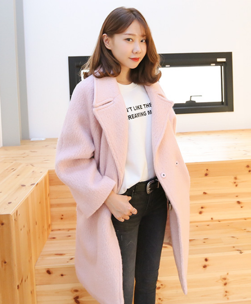 Simple Alpaca Blend Loose Fit Long Coat