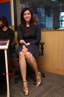 Actress Mannara Chopra Stills in Blue Short Dress at Rogue Song Launch at Radio City 91.1 FM  0055.jpg