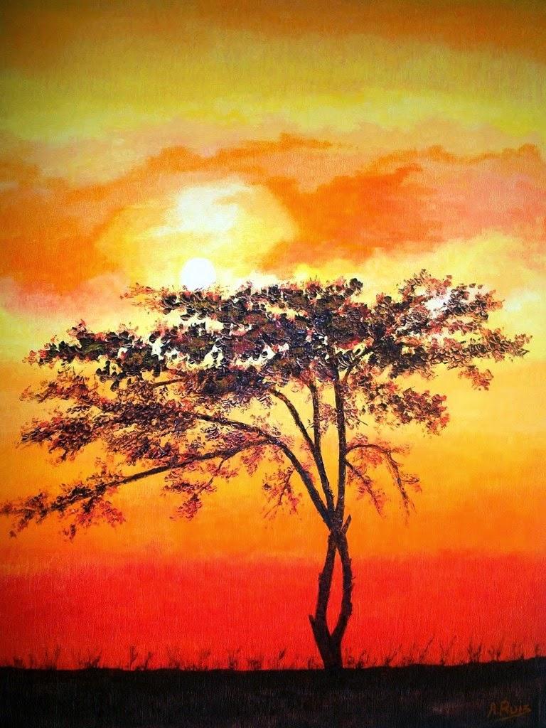 Cuadros modernos pinturas y dibujos paisajes africanos - Paisaje con colores calidos ...