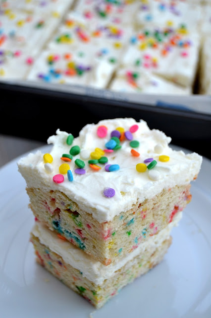 birthday cake bars funfetti sprinkles vanilla almond flavoured cake cut into individual servings