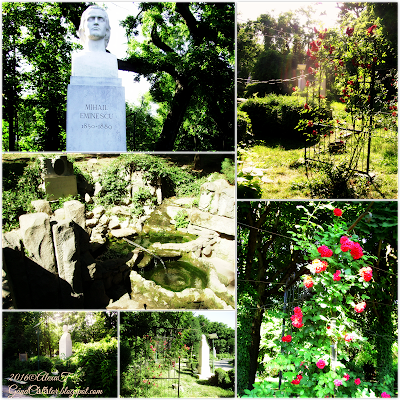 Aleea rondului român. The alley with sculptures In Cismigiu Park. And the Eminescu's Water Spring in Cismigiu. June 2015