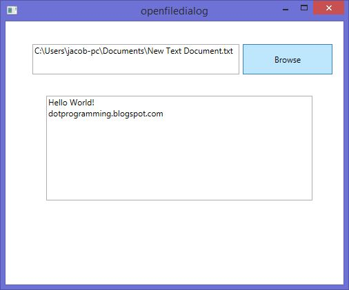 How to use OpenFileDialog control in wpf to read txt file