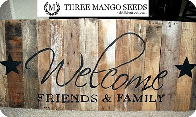 Three Mango Seeds Hand Painted Welcome Sign