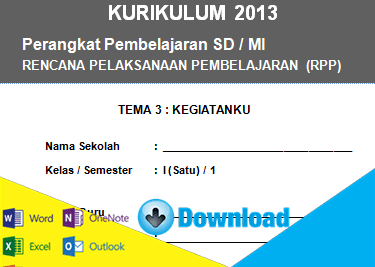 Download RPP Kurikulum 2013 Kelas 1 SD Tema Kegiatanku