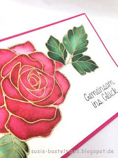 Hochzeitskarte handkoloriert aquarell embossing gold rosenzauber stampin up demonstratorin in coburg