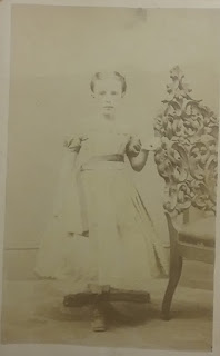 NY Girl c.1864-1866, posing stand and chair. CDV