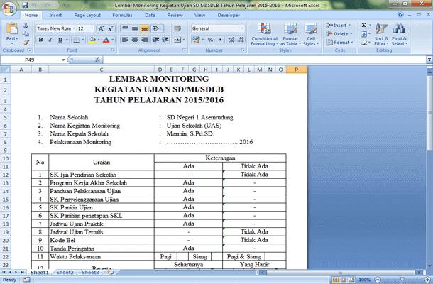 Lembar Monitoring Kegiatan Ujian SD MI SDLB Tahun Pelajaran 2015-2016