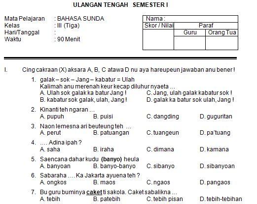 Download Contoh Soal UTS Bahasa Sunda SD Kelas III Semester I Format Microsoft Word