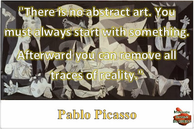 "Featured on our Inspirational Pablo Picasso Quotes article and their meaning: ""There is no abstract art. You must always start with something. Afterward you can remove all traces of reality."" - Pablo Picasso's quote with Guernica as the background."
