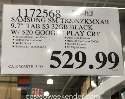 Deal for the Samsung Galaxy Tab S3 (SM-T820NZKMXAR) at Costco