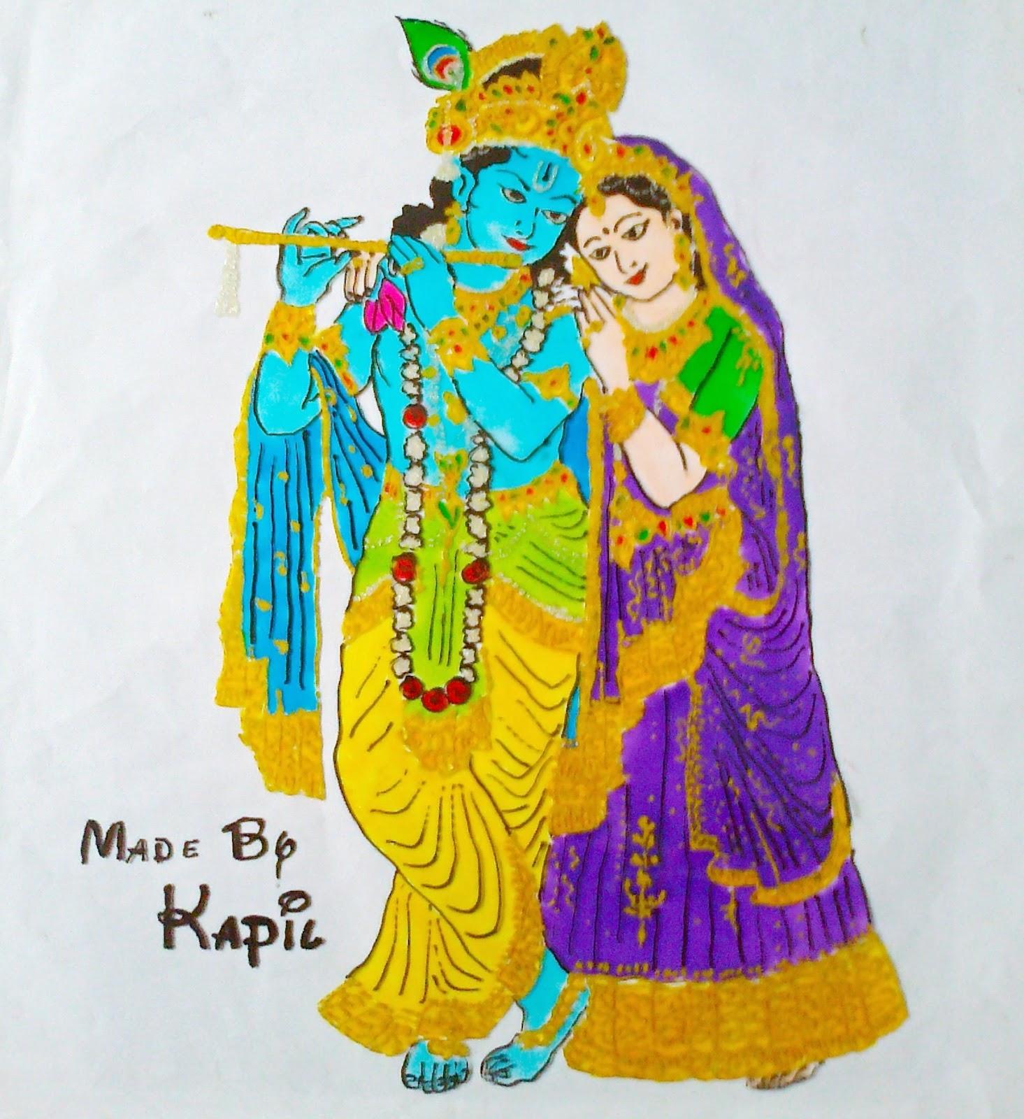 Radha Krishna Glass Painting ~ Sirf Hand Made