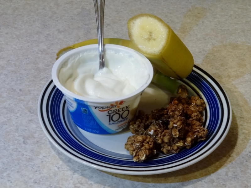 banana, Greek yogurt, Granola