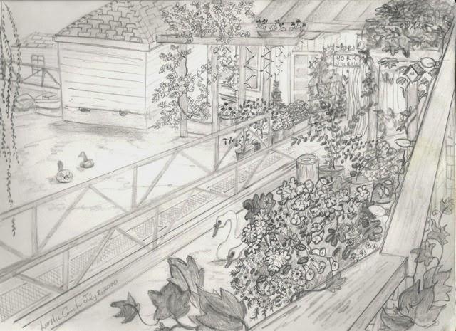 A pencil sketch of the ramp garden