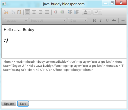 Java-Buddy: Save HTMLEditor generated code in file