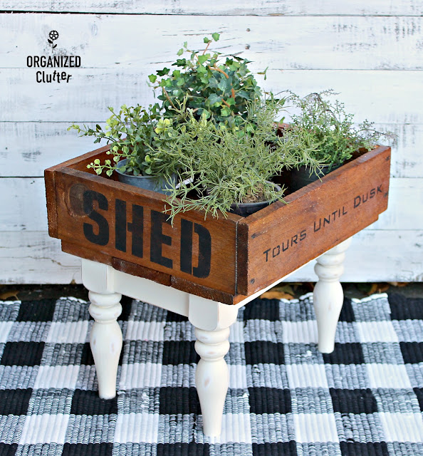 Thrifted Stool Legs Attached to a Vintage Crate #stencil #oldsignstencils #rusticdecor