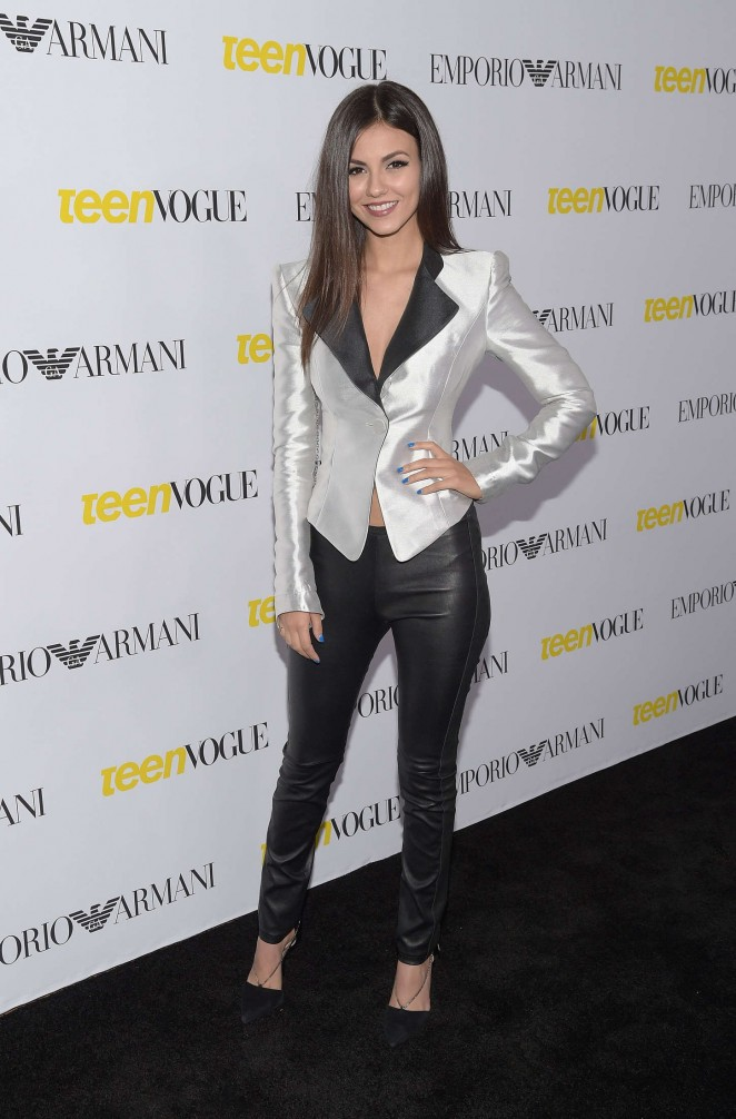 Victoria Justice in a low cut silver jacket at Teen Vogue's Annual Young Hollywood Issue Launch Party